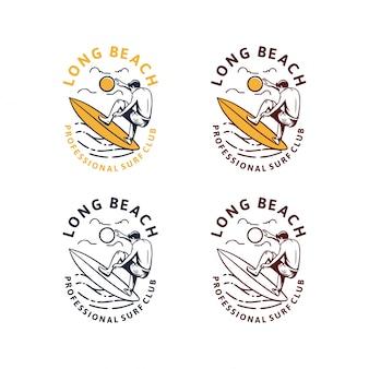 Jeu de logo vintage de longue plage de surf