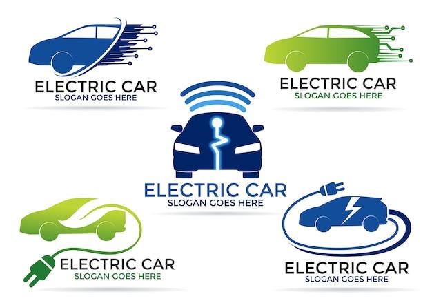 Jeu de logo de voiture électrique
