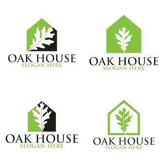 Jeu de logos vectoriels à la maison en chêne. modèles de logos.