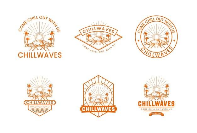 Jeu de logos vectoriels premium insigne de l'heure d'été