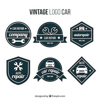 Jeu de logos de voiture rétro avec des formes géométriques