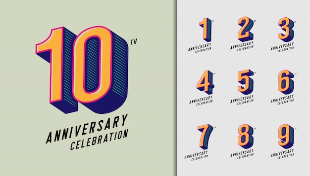 Jeu de logotype moderne anniversaire célébration.