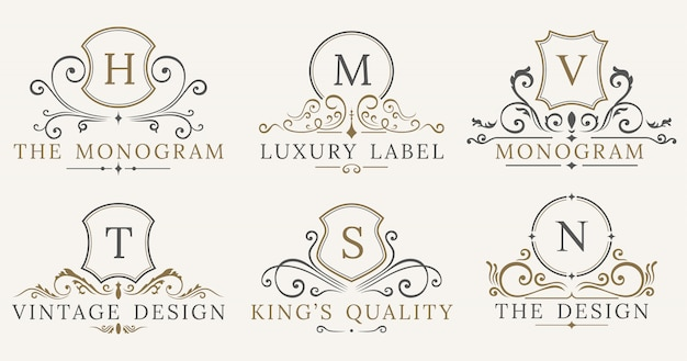 Jeu de logotype retro royal vintage shields