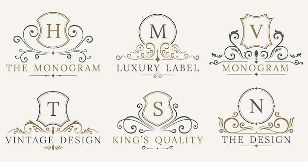 Jeu de logotype retro royal vintage shields