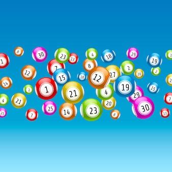 Jeu de loterie, boules avec des nombres, sur un fond coloré. illustration de vecteurs