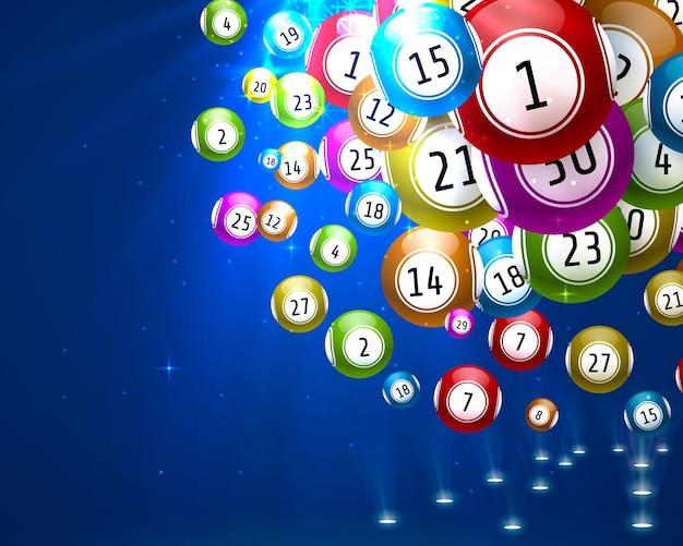 Jeu de loterie, boules avec des nombres, sur un fond coloré