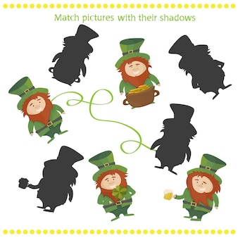 Jeu de lutin d'ombre drôle. illustration vectorielle du jeu d'association d'ombres avec un lutin de dessin animé heureux pour les enfants