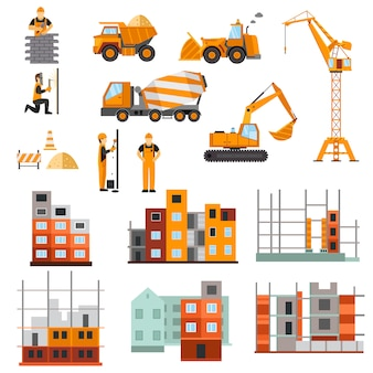 Jeu De Machines De Construction Vecteur gratuit