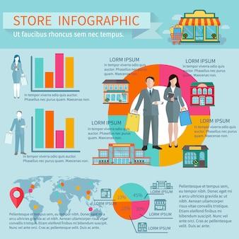 Jeu de magasins et bâtiments infographiques avec pourcentage et diagrammes