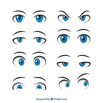Jeu de main dessiné des yeux expressifs