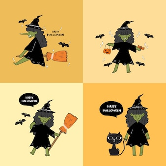 Jeu de main dessiner affiche de sorcière halloween.