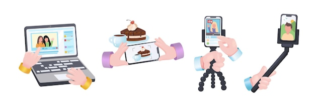 Jeu de mains de concept graphique de blogs. mains humaines tenant un ordinateur portable avec vidéo, téléphone portable pour prendre des photos ou enregistrer du contenu pour un blog ou une chaîne. illustration vectorielle avec des objets réalistes 3d