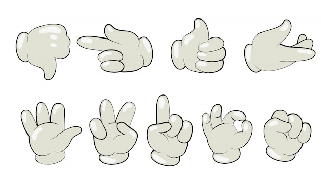 Jeu de mains de dessin animé en gants