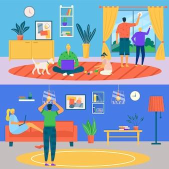 Jeu de maison propre de caractère familial, illustration. les gens homme femme font des travaux ménagers dans la chambre ensemble. mère père fils fille nettoyage et réparation de la maison, aide au lavage avec outil.