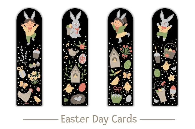 Jeu de marque-pages de pâques pour les enfants. lapin mignon et enfants heureux sur fond noir. modèles de cartes de mise en page verticale sur le thème des vacances. papeterie pour les enfants.
