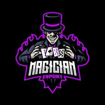 Jeu de mascotte logo esport magicien