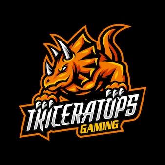 Jeu de mascotte avec logo triceratop esport