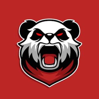 Jeu de mascotte panda sauvage aux yeux rouges