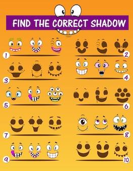 Jeu de match d'ombre pour enfants avec des visages de monstres