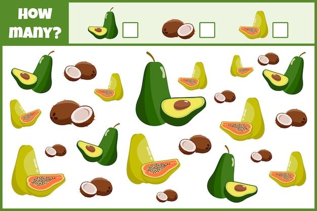 Jeu mathématique éducatif. comptez le nombre de fruits. comptez comment l'homme fructifie. jeu de comptage pour enfants.