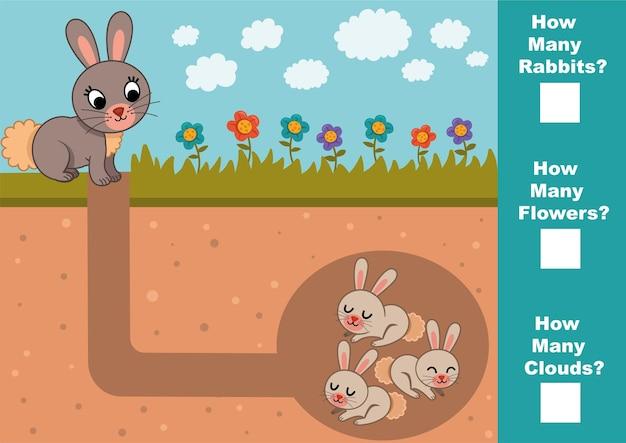 Jeu mathématique éducatif pour les enfants comptez combien de lapins fleurs nuages