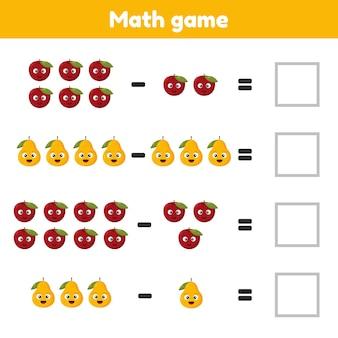 Jeu de mathématiques pour enfants d'âge préscolaire et scolaire compter et insérer les bons nombres soustraction fruits