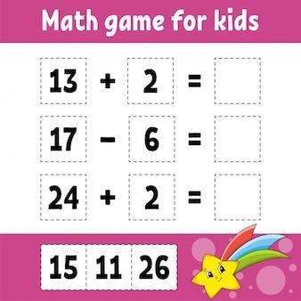 Jeu de mathématiques pour les enfants. feuille de travail de développement de l'éducation.