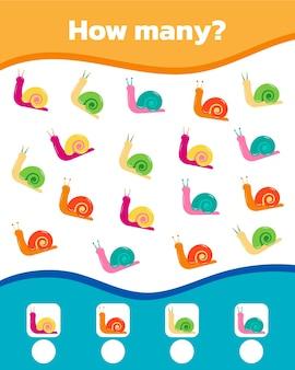 Jeu de maths coloré pour les enfants. combien y a-t-il d'escargots mignons. illustration vectorielle.