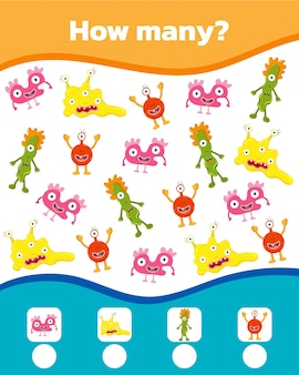 Jeu de maths coloré pour les enfants. combien y a-t-il de monstres mignons. illustration vectorielle.