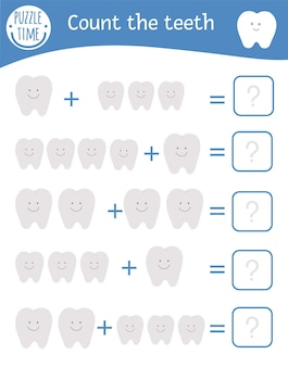 Jeu de maths avec des dents. activité mathématique de soins dentaires pour les enfants d'âge préscolaire. feuille de calcul de comptage imprimable. énigme d'addition éducative avec des éléments drôles mignons. quiz sur l'hygiène buccale pour les enfants