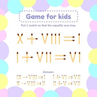 Jeu de maths pour les enfants.
