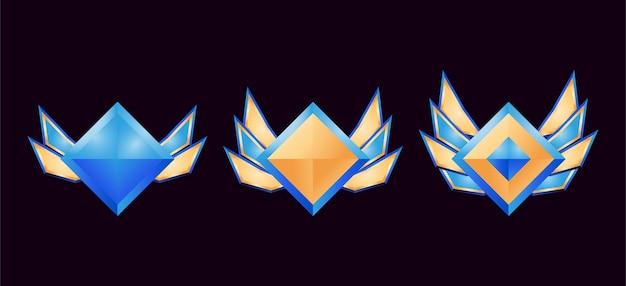 Jeu de médailles d'insigne de rang de diamant d'or d'interface utilisateur avec des ailes