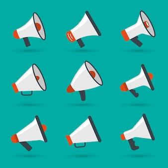 Jeu de mégaphone. articles d'annonce icône de concept de communication radio haut-parleur.