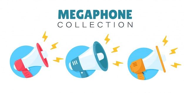 Jeu de mégaphone pour crier des annonces de promotion de produits aux clients.