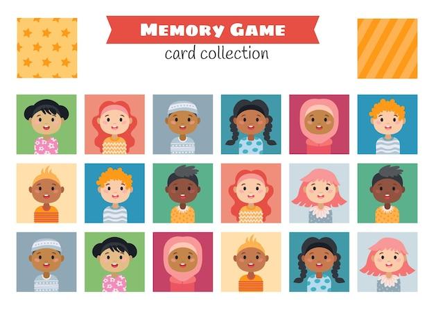 Jeu de mémoire avec des personnages de dessins animés pour enfants