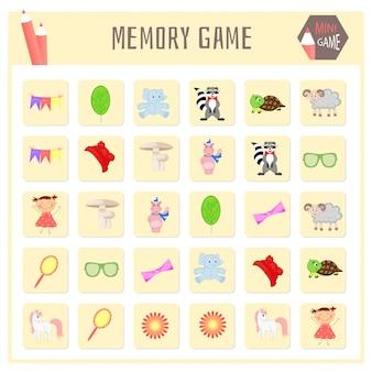 Jeu de mémoire pour enfants, cartes animales vectorielles