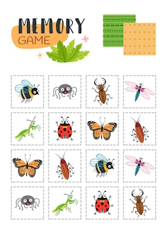 Jeu de mémoire avec des scarabées de dessins animés.