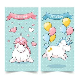 Jeu mignon de cartes de personnages de licorne d'anniversaire dans le stile de dessin animé