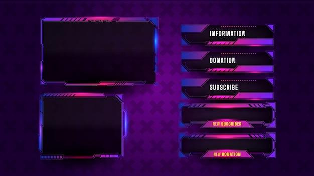 Jeu de mise en page de panneau de streaming de jeu