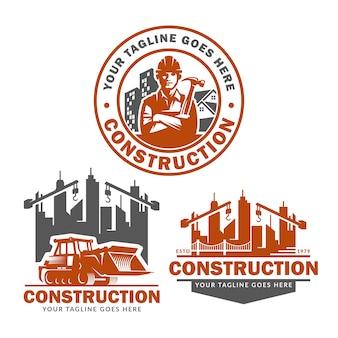 Jeu de modèles de logo de construction, pack de vecteur de logo de construction