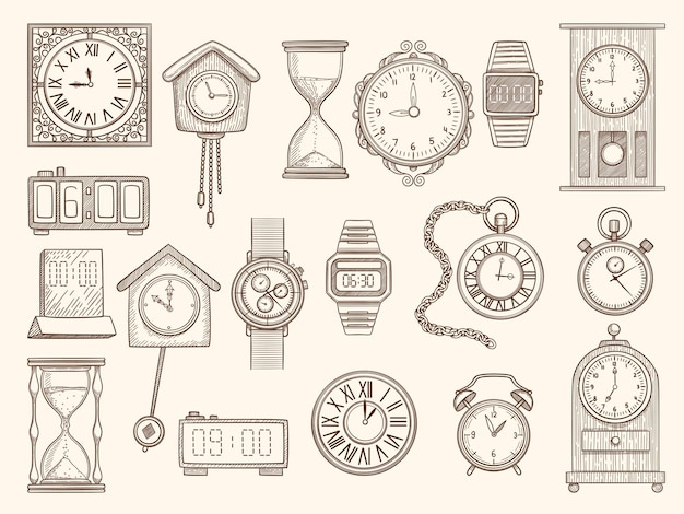 Jeu de montres. dessin horloges minuteries alarmes collection d'images.