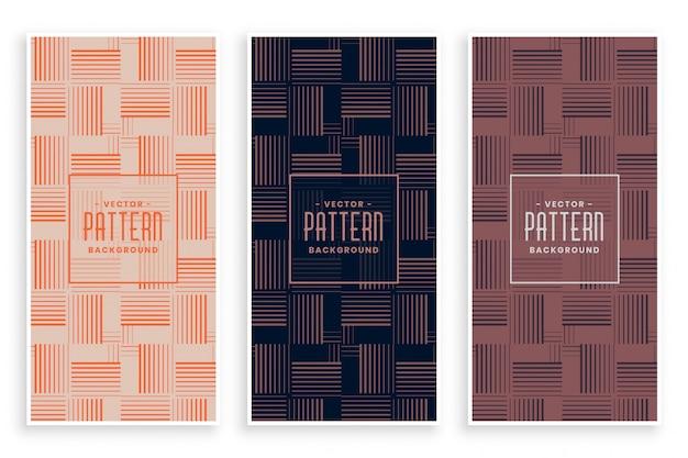 Jeu de motifs abstraits de lignes horizontales et verticales