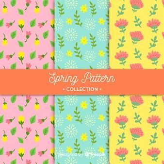 Jeu de motifs floraux de printemps de couleur pastel