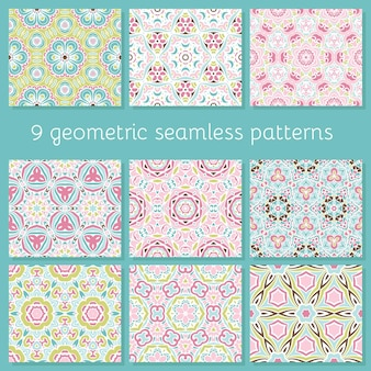 Jeu de motifs géométriques colorés mignons abstraits sans couture