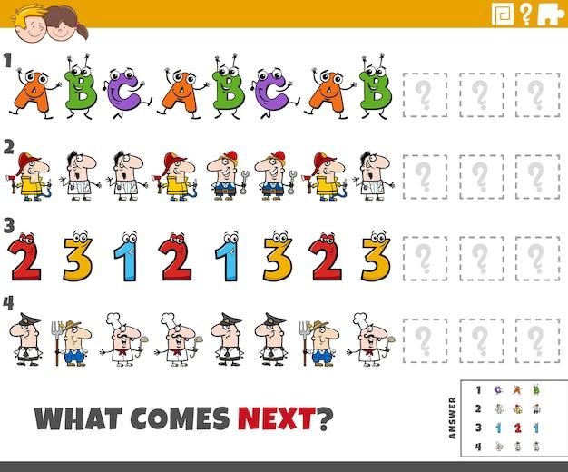 Jeu de motifs pédagogiques pour enfants avec des personnages de dessins animés