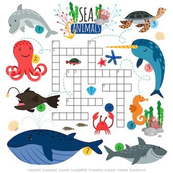Jeu de mots croisés sur les animaux de la mer pour enfants