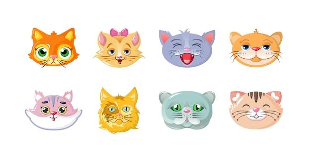 Jeu de museau de chat enfantin drôle. le chaton mignon fait face à des têtes confiantes et souriantes. avatar d'animal domestique à fourrure avec les yeux, le nez, la bouche et la moustache recouverts de laine. vecteur de dessin animé félin amusant