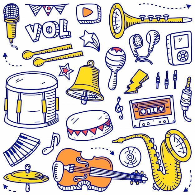 Jeu de musique doodle style dessiné à la main