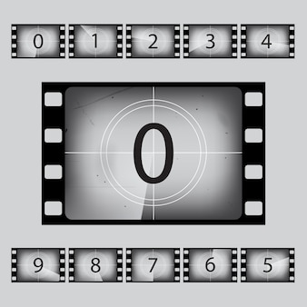 Jeu de nombres de compte à rebours rétro de film.