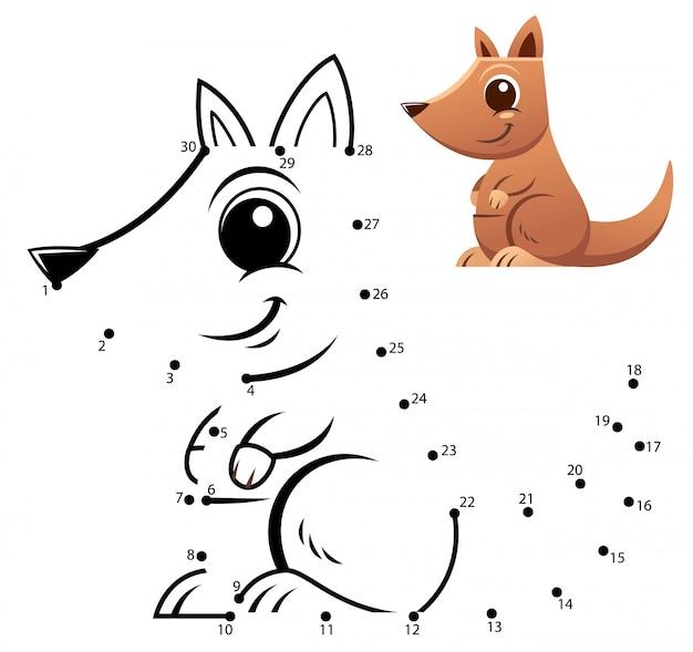 Jeu de nombres d'éducation. jeu de point à point. caricature de kangourou